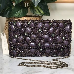 Anthropologie Beaded Crystal Bag Clutch Chain